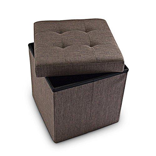 Relaxdays Faltbarer Sitzhocker 38 x 38 x 38 cm stabiler Sitzcube mit praktischer Fußablage als Sitzwürfel aus Leinen als Aufbewahrungsbox mit Stauraum und Deckel zum Abnehmen für Wohnraum, braun