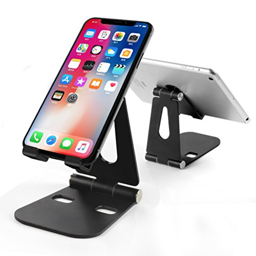 Cell Phone Stand, Dual Foldable Phone/Tablet Stand Holder, Multi-Angle Adjustable Aluminum Cell Phone Holder for Mobile Phone (All Size) and Tablet (Up to 13 inch)