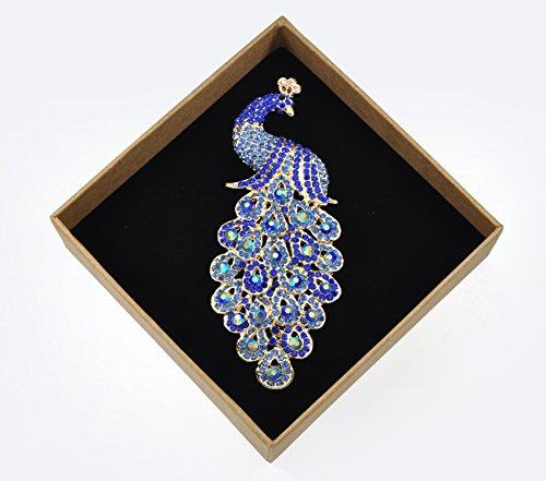 Gyn&Joy Gold-Tone Art Gorgeous Peacock Austrian Crystal Rhinestone Brooch Pins 5 Inch BZ055 (Blue) by Gyn&Joy (Image #3)