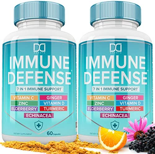 7 in 1 Immune Support Booster Supplement with Elderberry, Vitamin C and Zinc 50mg, Vitamin D 5000 IU, Turmeric Curcumin & Ginger, Echinacea - Immunity for Adults Kids, Immune Defense (120 Capsules)