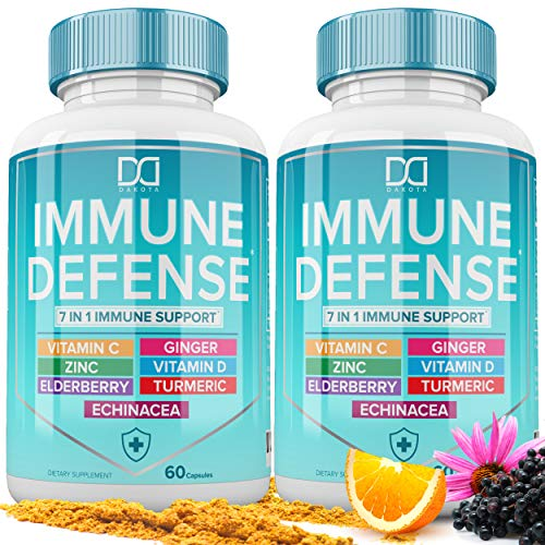 7 in 1 Immune System Booster Support Supplement with Zinc 50mg, Vitamin C, Elderberry VIT D3 5000 IU, Turmeric Curcumin & Ginger, Echinacea - Immunity for Adults Kids, Immune Defense (120 Capsules)