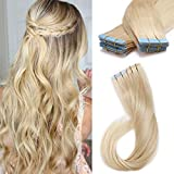 SEGO 20 Pieces Rooted Tape in Hair Extensions Human Hair Seamless Skin Weft 100% Real Remy Invisible Tape Hair Extensions Straight Double Sided 18 inches #60 Platinum Blonde 30g