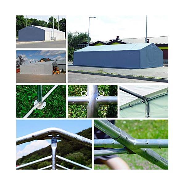Das Company Tendone Deposito 8x12x4m Tendone Bianco Impermeabile 560g/m² Tenda da stoccaggio Rinforzo dell'Ingresso… 7 spesavip