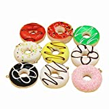 Transcend11 Pack of 9 Colorful Simulation Donuts Lifelike Fake Cake Food Model Craft Cell Phone Charm Squishy Kids Toy Home Kitchen Party Decoration Market Display Photography Props, Color Random, 5cm
