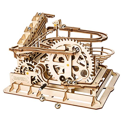 Marble Building Kit - ROKR 3D Wooden Puzzle Adult Craft Model Building Set Mechanical Marble Run Games Home Decoration-Educational Toy for Christmas,Birthday Gift for Boys and Girls Age 14+(Magic Crush Waterwheel Coaster)
