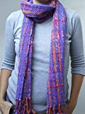 Wool winter shawl purple blue orange shawl hand woven shawl winter scarf fringed shawl fashion accessories handmade gift for her woman scarf