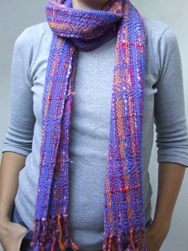 Wool winter shawl purple blue orange shawl hand woven shawl winter scarf fringed shawl fashion accessories handmade gift for her woman scarf by HandweavingbyMima