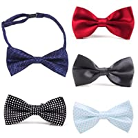 HDE Men's Wedding Party 5-Pack of Solid Color Formal Adjustable Pre-Tied Bow Tie