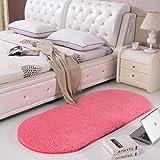 Rug WAN SAN QIAN Bedside Blanket Oval Carpet Simple Style Lambskin Solid Color Bedroom Carpet (Color : B, Size : 100x200cm)