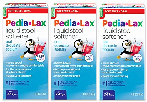 Pedia-Lax Liquid Stool Softener | Gentle Stool Softener that Prevents Kid's Constipation | Fruit Punch Flavor | 4 oz | Pack of 3 (The Best Stool Softener For Adults)