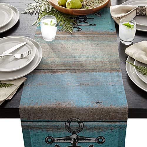 Laibao Dining Table Runners Nautical Anchor Vintage Wood Floor Cotton Line Table Linens for Kitchen Dining Table/Party/Wedding Table 13x90 ()