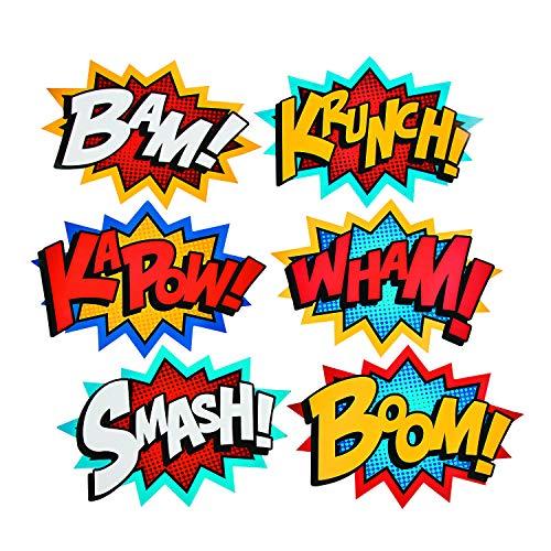 Superhero Word Cutouts by Fun Express - Birthday Party Favors - Party Decor - Wall Decor - Bulletin Board - 6 Pieces