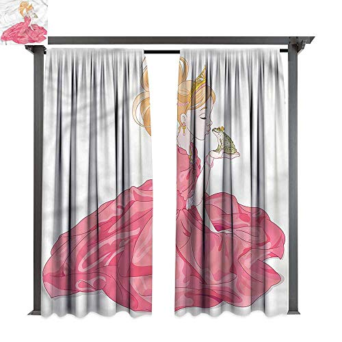 Frog Quilted (cobeDecor UV Protectant Indoor Outdoor Curtain Panel Teen Girls Princess Kissing A Frog for Lawn & Garden, Water & Wind Proof W108 xL72)