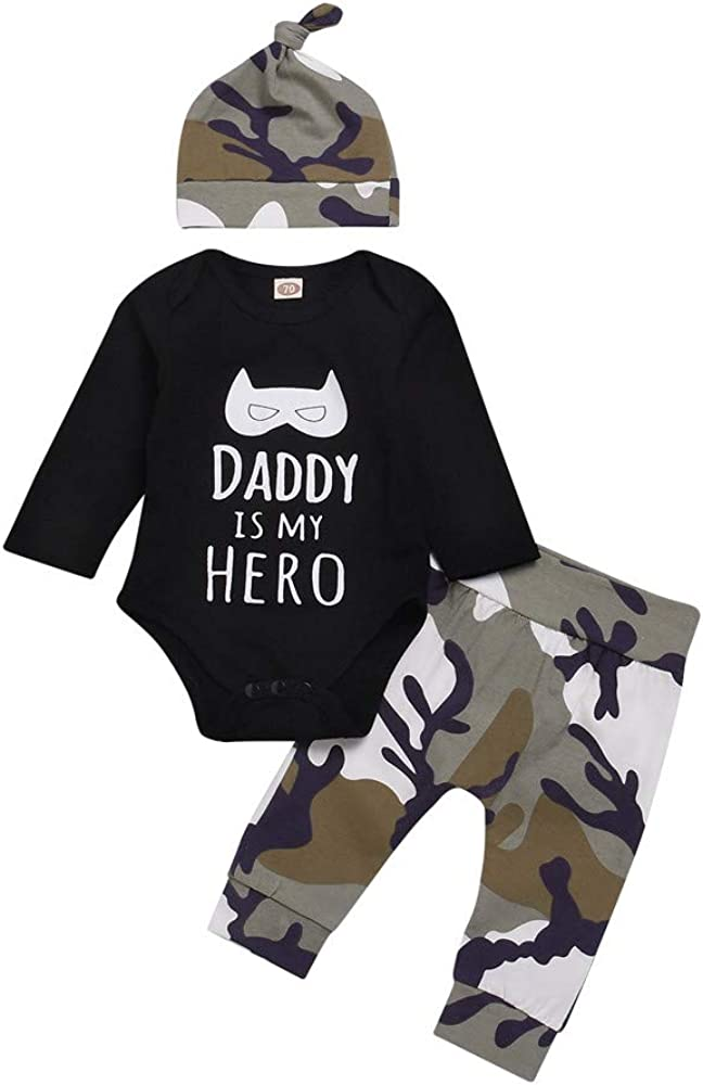 LANSKIRT Ropa de Trajes de Recién Nacido Infantil bebé niños Letras de la Historieta de Manga Larga Pantalones de Camuflaje Tres Conjuntos Mameluco Top + Pantalones + Sombrero Invierno
