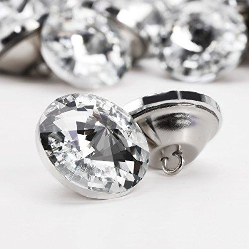 100x Glass Diamante Crystal Diamond Effect Chair Sofa Headboard Upholstery Sewing 25 Mm Buttons - Diamond Upholstery
