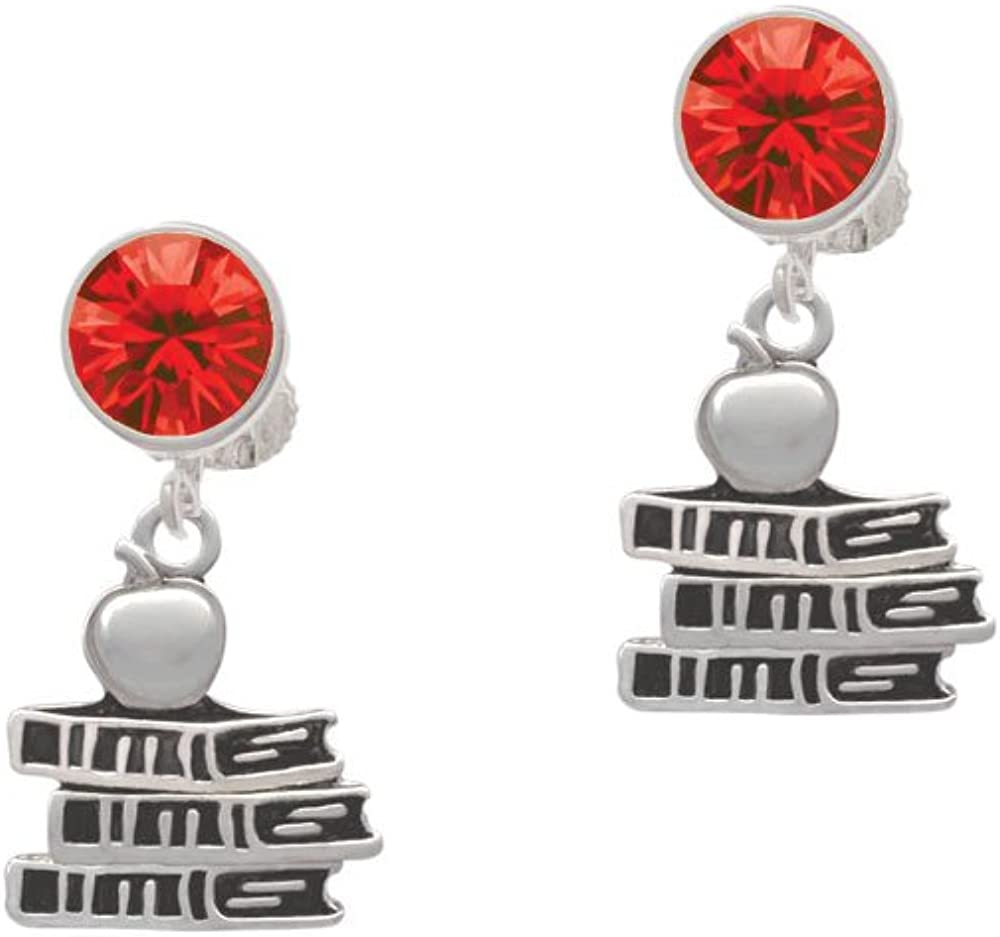 Silvertone Antiqued School Books with an Apple - Red Crystal Clip on Earrings
