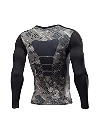 1Bests Men Fitness Print Long Sleeve Top Quick Dry Compression Activewear T-Shirt
