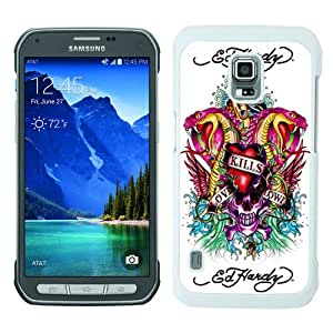WOSN Ed Hardy 8 White Case Cover for Samsung Galaxy S5 Active