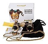 Levenhuk Broadway 325F Opera Glasses (Black, with LED Light and Chain)
