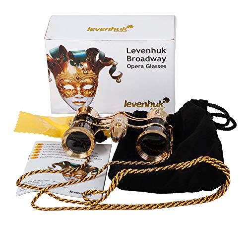 Levenhuk Broadway 325F Opera Glasses (black, with backlight and chain), 3x, with accessory kit