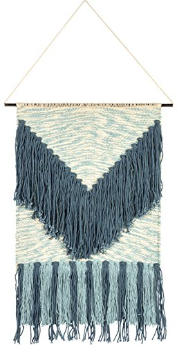 Primitives by Kathy Happy Place Style Woven Wall Hanging, Handmade Fringe Tassel Banner, Bohemian Decor, Cotton, 14