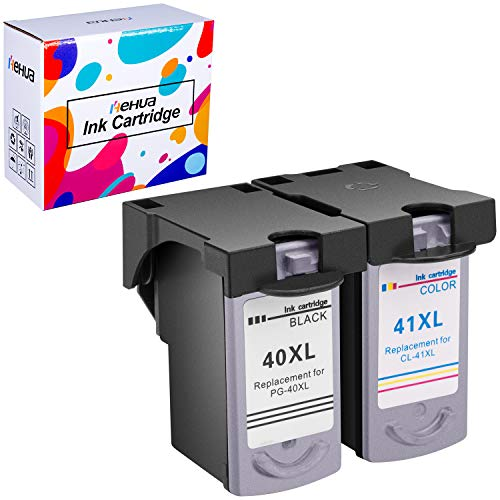 Hehua PG 40 CL 41 Remanufactured Ink Cartridge Replacement for Canon PG40 CL41 PG-40 CL-41 Pixma MP470 MP210 MP160 MX310 MX300 iP2600 iP1600 iP1700 iP1800 Fax JX 200 Printer (1 Black, 1 Color)