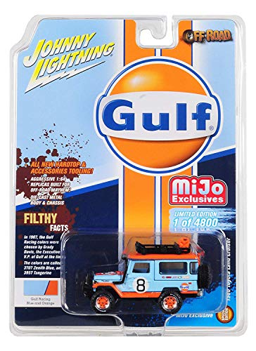"1980 Toyota Land Cruiser with Accessories #8""Gulf Limited Edition to 4,800 Pieces Worldwide 1/64 Diecast Model Car by Johnny Lightning JLCP7147 from Johnny Lightning"