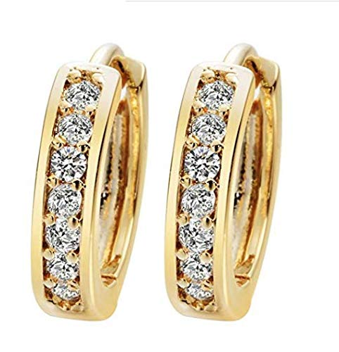 974bb2a57 24K Gold Cubic Zirconia Round Hoop Earrings Filled Clear Design Ladies  Womens Fashion Earrings for Girls