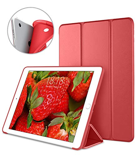 Apple iPad Air 9.7 Inch Smart Cover, DTTO Ultra Slim Lightweight Smart Case Trifold Cover Stand with Flexible Soft TPU Back Cover for iPad Apple iPad Air 9.7-inch [Auto Sleep/Wake], Red