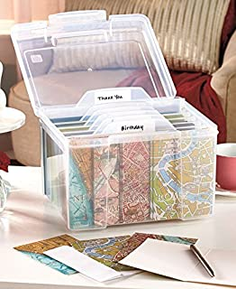 Amazon iris greeting card and craft keeper clear home kitchen greeting card organizer with dividers m4hsunfo