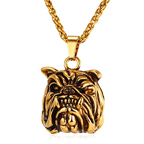 American Bully Pitbull Dog Necklace Vintage Black Enamel 18K Gold Plated Pendant Chain 22 Inch (Pit Bull Bully)