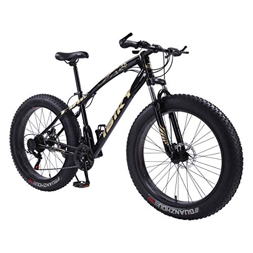 ibiky 26 Inch Wheel 21 Speed 4.0 Fat Tire Bike Snow and Grass Sand Bicycle Mountain Bike with Powerful Disc Brakes(Black)