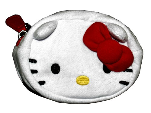 Hello Kitty Red Bow Tie Cute White Fleece Coin Purse Bag
