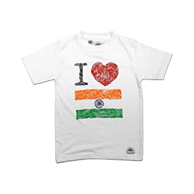 8de9cbedb5 Tricolor Nation India Pride T-Shirt I Love My Tricolor! for Kids:  Amazon.in: Clothing & Accessories