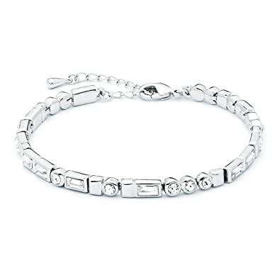 My Jewellery Story MYJS Morse Code Rhodium Plated I love You Tennis Bracelet with Swarovski Crystals, 17+5cm Extender