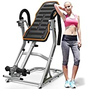 #LightningDeal HARISON Heavy Duty Inversion Table for Back Pain Relief 350 LBS Capacity with 3D Memory Foam, Back Inversion Chair with 180 Degree Full Inversion