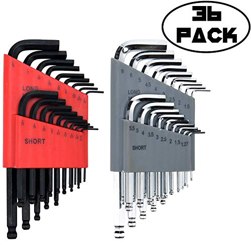 Allen Wrench/Hex Key Set (HUGE SET OF 36 WRENCHES WITH BALL END) Metric & SAE Sizes in Both Long & Short Arm ()