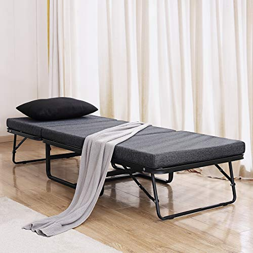 "TATAGO Premium Ottoman Folding Bed with Steel Mesh Wire Lattice Base - 500lbs Max Weight Capacity, Extra-Thick Cotton Cover, Guest Hideaway, Dual Use - 78"" x 30"""