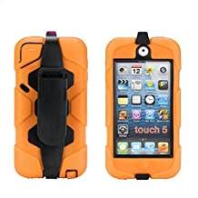 iPod Touch 6 Case,iPod Touch 5 Case - Hard belt clip design with Soft Hybrid Armor Defender Sports Combo Case for Apple iPod Touch 5 Generation iTouch 6th Generation (Orange)