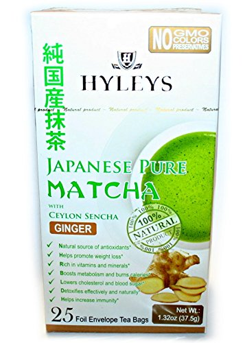 Hyleys 100% Natural Japanese Pure Matcha Tea with Ceylon Sencha and Ginger, 25 teabags