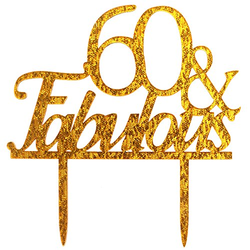 Glitter Gold Acrylic 60 & Fabulous Cake Topper, 60th Birthday Party Cupcake Topper Decoration (60, gold)