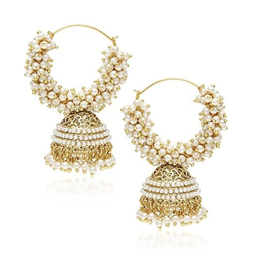 Youbella Golden Plated Hoop Earrings For Women (Golden)(YBEA