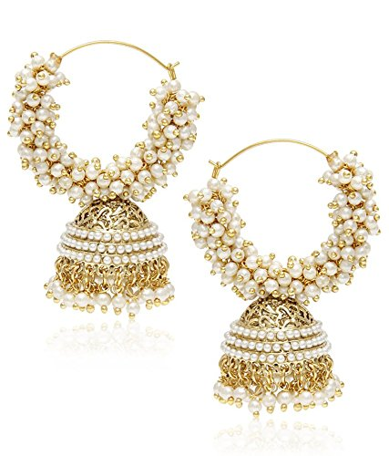 youbella golden plated hoop earrings for women golden