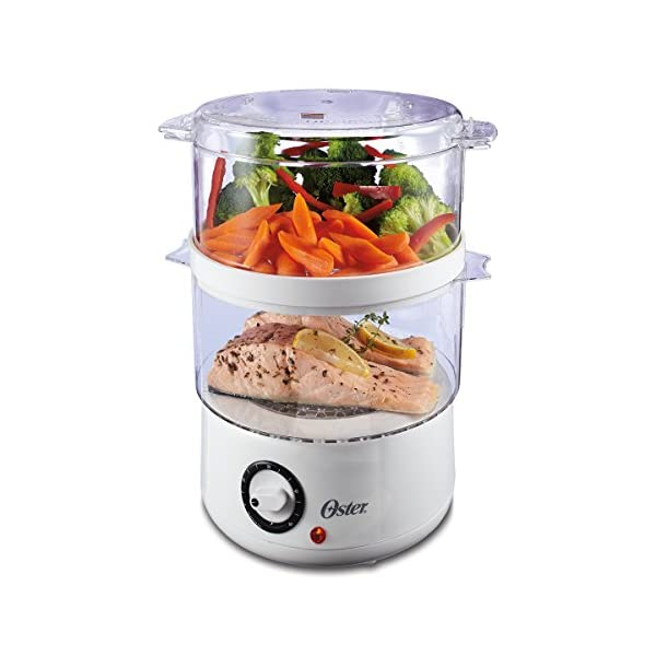 Oster Double Tiered Food Steamer, 5 Quart, White (CKSTSTMD5-W-015) 51IEpElzV3L