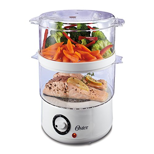 Oster Double Tiered Food Steamer, 5 Quart, White - Steam Cooker Electric
