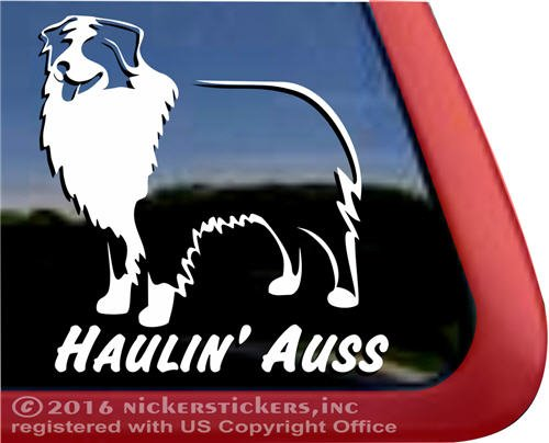 Haulin Australian Shepherd Vinyl Window