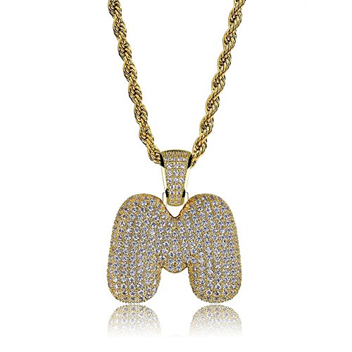 HECHUANG Micropave Simulated Diamond Iced Out Bling Custom Bubble Letters Pendant with Rope Chain (M Gold, 24)