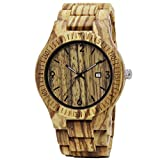 TJW Mens Natural Wooden Watch Analog Quartz Date display Handmade Casual Wrist Watch (zebra wood)