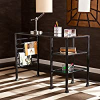Southern Enterprises Glass Writing Desk 42 Wide, Black Finish with Silver Distressing