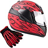 Typhoon Youth Kids Full Face Helmet with Shield & Gloves Combo Motorcycle Street Dirt Bike - Red (Large)